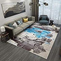 Mountain head 北ヨーロッパのシンプルなカーペットのリビングルームのコーヒーテーブルのソファ毛布完全寝室のカーペット家庭用ベッドサイドマット要約 Mountain head (Color : Grey+blue, Size : C)