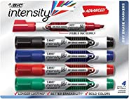 BIC GELITP41-AST Intensity Advanced Whiteboard Markers, Dry Erase Chisel Tip – Bulk Pack of 4 – Low Odour, Non