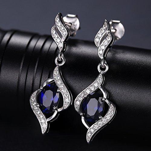 JewelryPalace 2ct 高品質 人工 サファイア イヤリング レディース ブルー 人気 9月 誕生石 スターリング シルバー925 ピアス 揺れる 女性 ブランド
