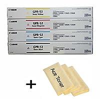 純正オリジナルCanon gpr-53トナーカートリッジセットブラックシアンマゼンタイエローfor : Canon imageRUNNER Advance c3325C3330C3525C3530C3025W / Micro acetoner布。