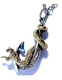 和柄 牙を剥く大蛇と釣り針(スパイラル?スネーク&フィッシュフック) 立体装飾 ブラック燻し幾何学模様彫り シルバー&ブラスゴールド?バイカラー シルバー925 メンズ ペンダント ネックレス