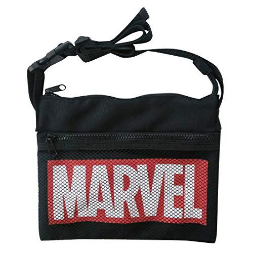マーベル サコッシュ MARVEL ロゴ ブラック×レッド ...