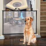 TERSELY Magic Gate for Dogs, Dog gate, Pet Safety Gate, Portable Folding Mesh Magic Gate, Safet Gate, Safe Guard Install Anywhere, Safety Fence for Hall Doorway 72 * 110cm (Black)