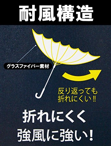 『TANPOPO [反り返っても折れにくい! ] 16本FRP骨 ジャンプ長傘 65cm (無地 ネイビー) 50578』の2枚目の画像