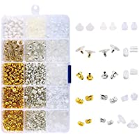 Baoblaze Assorted Bulk Ear Stud Earrings Backs Stopper Replace Repair DIY Jewelry Findings with Box Supplies