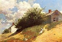 手描き-キャンバスの油絵 - Houses on a Hill 現実主義 painter Winslow Homer 芸術 作品 洋画 ウォールアートデコレーション -サイズ13