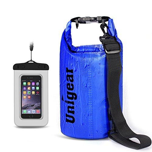 Unigear ドライバッグ 防水バッグ 防水ポーチ付き ドラム型 新型素材 防水 防塵 9色 6サイズ 2L 5L 10L 20L 30L 40L(青色 10L)