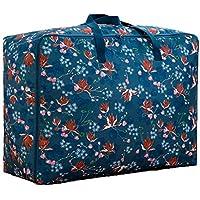 青い花のパターンのストレージバッグ3PCSポータブル折りたたみオックスフォード布防水防湿コットンキルトストレージ大きな荷物衣類移動仕上げ収納袋3個/セット (サイズ さいず : 58 * 22 * 38cm)