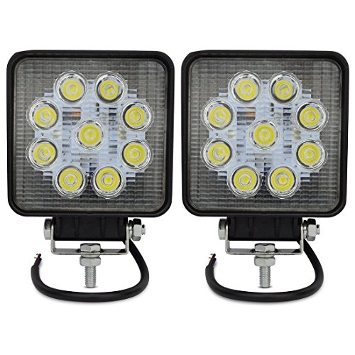 Safego 27W LED作業灯 ワークライト 汎用 10V-30V対応 広角タイプ 長寿命 フラッドライト 4インチ 角型 9連LED 車外灯 農業機械 白 27WS-FL-2個