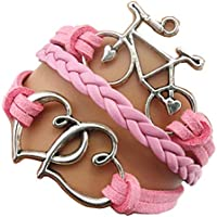 Ac Union ACUNIONTM Handmade Infinity Tortoise Angel Wings Owl Butterfly Anchor Brids Heart Best Friend Charm Friendship Gift Leather Bracelet