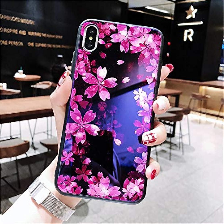ヒギンズ突然のラベiPhone X/iPhone XS Max 専用ケース 背面強化ガラスxTPUハイブリッドカバー 滑り止め ストラップホール付き 漫画 青いガラス クリエイティブ スマイリー/さくら カップル用電話ケース