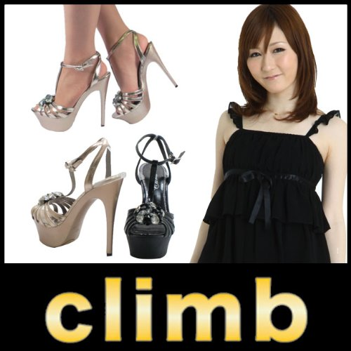 クライム(CLIMB) サンダル 6043 Tストラップ ビジュー付 ハイヒール 厚底 ピンヒール 美脚【L 24.0-24.5cm -ブラック】