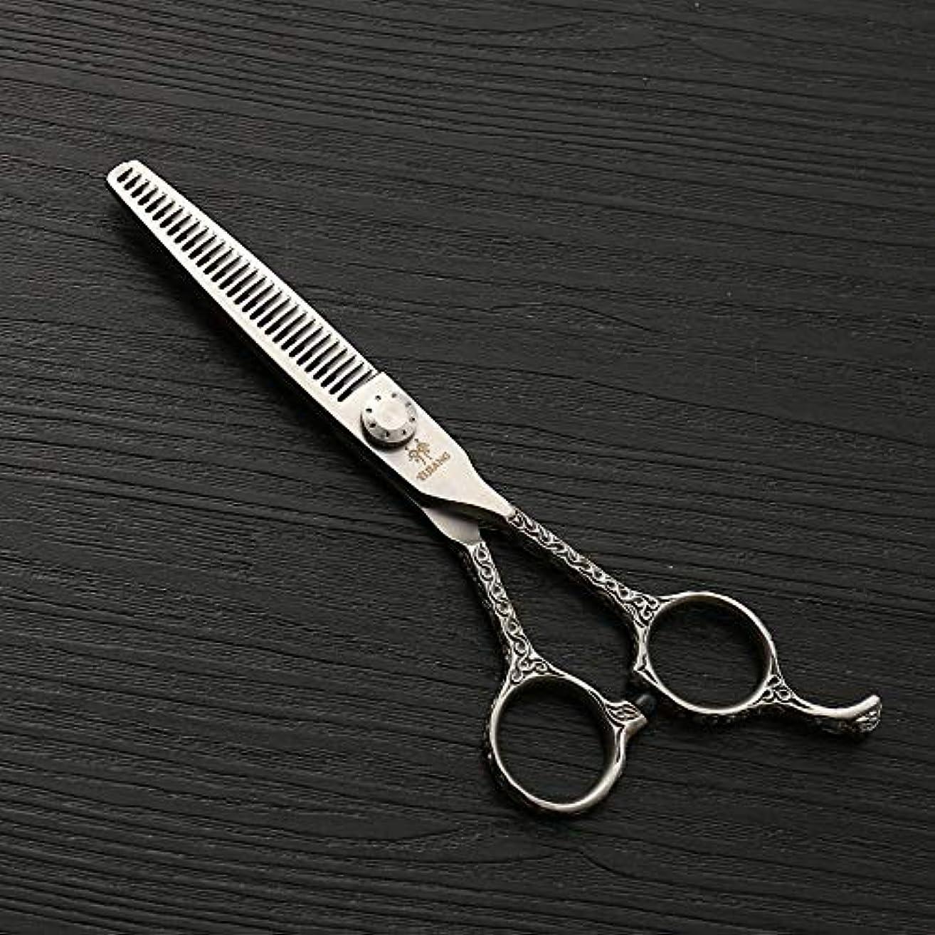 代表少年バイアス6インチの美容院の専門のヘアカットScissors440Cのステンレス鋼 モデリングツール (色 : Silver)