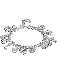 Sungpunet 925 sterling Silver Plated Fashion Women 13 Charm pendant Beautiful Bracelet
