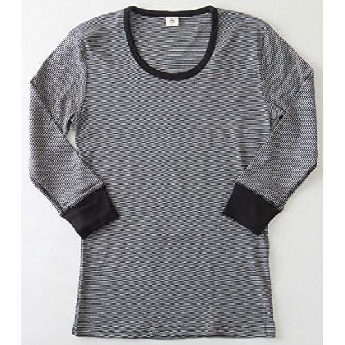 (ジーアールエヌ)grn/Tシャツ/新シリーズ/マイ・フィット/ボーダー7分袖Tシャツ M BLACK