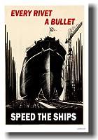 EveryリベットA Bullet–速度The Ships–Vintage British ww2複製ポスター