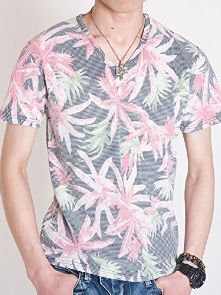 読みやすい森林外向きTシャツ メンズ 半袖 ボタニカル プリント Vネック サマーニット