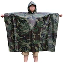 Rain Poncho, LOOGU Woodland Camo Ponchoes Waterproof, Rip-Stop Camouflage Coat for Hunting Camping Military and Use with Emergency Grommet Corners for Shelter Sheet