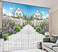 3Dステレオハウスロードサイドガーデンアートカーテン遮光窓厚手の2、幅2.03x高2.13