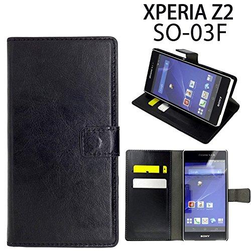 Xperia Z2 SO-03F 用 手帳型ケース (本革調...