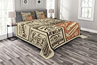 Lunarable Old Newspaper ベッドスプレッド さまざまな広告サイン バーバーショップ レストラン キャンプ レトロスタイル 装飾キルトカバーセット 枕カバー付き ブラウン オレンジ タン クイーン bed_39044_queen