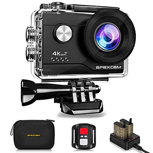 【4K超高画質】Apexcam アクションカメラ 4K 2000万画素 SONYセンサー WiFi搭載 40M防水 [メーカー1年保証] 1050mAhバッテリー 170度広角レンズ リモコン付き 2インチ液晶画面 HDMI出力 アクセサリーセット付き スポーツカメラ ウェアラブルカメラ 水中カメラ 防犯カメラ