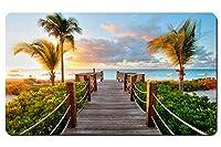 カリブ海のビーチタークス・カイコス諸島の日没 パターンカスタムの マウスパッド 海 デスクマット 大 (60cmx35cm)