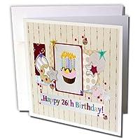 バースデーデザイン–コラージュ、星、カップケーキとキャンドル、幸せの26日誕生日–グリーティングカード Individual Greeting Card