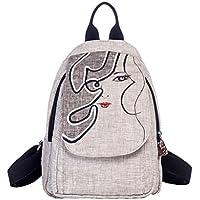 CXQ 文学フレッシュエスニックスタイルのバックパック大容量ブラックキャンバスバックパック女性の手作りの織りバックパック