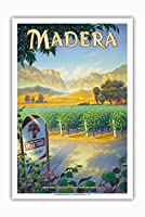 マデラ(サン・ホアキン・バレー)・ワイナリー - セントラルヴァレーAVAブドウ園 - カリフォルニアワインカントリーアート によって作成された カーン・エリクソン - アートポスター - 31cm x 46cm