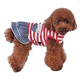 (ボラ-キキ) Bole-kk 犬 服 スカートワンピース デニム 小型犬 中型犬 ペット洋服 tシャツ ドレス ボーダー かわいい 春夏
