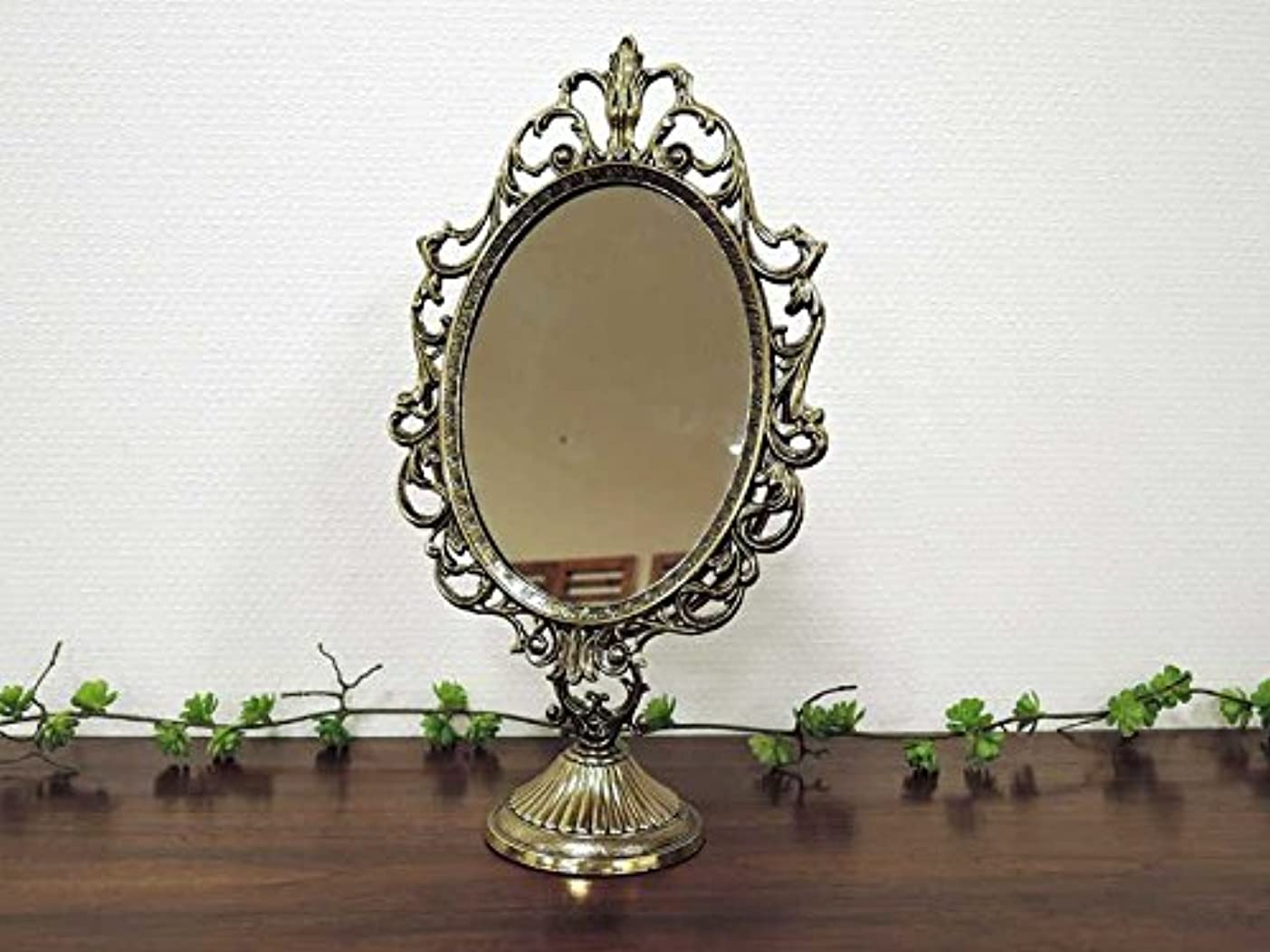 憂鬱な壮大なナンセンスザマック テーブルミラー L スタンドミラー 鏡 ゴールド ミラー 卓上 アンティーク インテリア クラシック おしゃれ アジアン雑貨 北欧