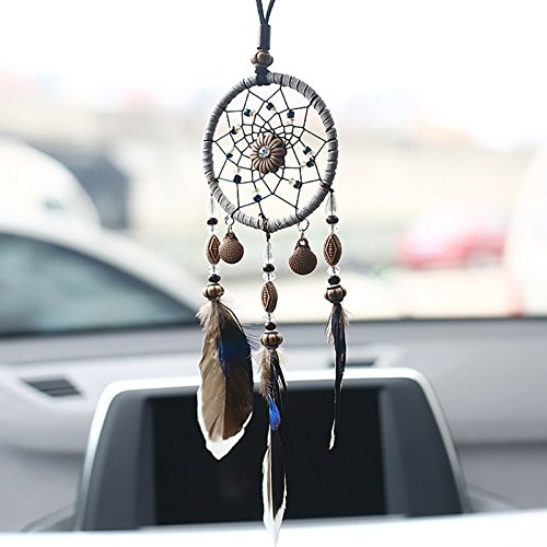Funnytoday365 Mini Car Dream Catcher Beaded Natural Feathers Handcraft Chic Hanging Ornaments Mirror Room Bedroom Wall Decor Native