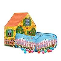 キッズプレイテント インドアアウトドアプレイハウス キャンプ 遊び場 想像力の構築とロールプレイに - 簡単セットアップ、ポリエステル生地とプラスチックブラケットロッド (6つの小さな車) Tent +100 balls