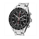 Guionnetメンズflighttimer腕時計、クロノグラフタキメーター機能、クォーツ、メタルシルバーブラック