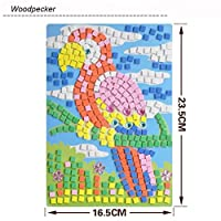 [モザイクステッカーアートキットfor Kids ]動物Woodpecker Ostrich UFOエイリアンロケット宇宙飛行士 Da-003118
