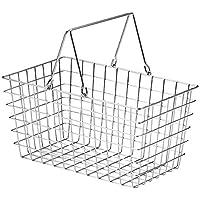 『ワイヤー』四角タイプかごバスケット「30×18×15.5cm」(片手持ち)