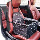 Waterproof Pet Booster Seat Safety Car Front or Rear Seats Cover for Dog Cat Cage Comfort Travel Foldable with Seat Belt Tether (Black-B)