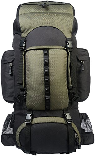 Amazonベーシック インターナルフレームハイキングバックパック レインフライ付属 55L グリーン