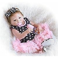 Rebornベビー人形Realistic baby-fullシリコンボディ新生児赤ちゃん人形for Dinkファミリと、高齢者、23-inch Lifelike Girl withブラックSpotsドレス、おもちゃGreat for大人、子供、赤ちゃん