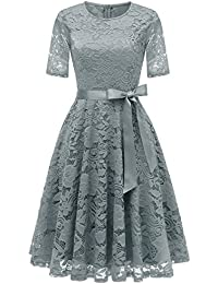 Dresstell(ドレステル) 結婚式ドレス パーティー ワンピース レース 半袖 ひざ丈 二次会 お呼ばれ 発表会 レディース