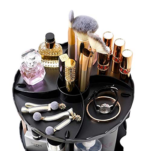 Cosmetic Storage Organizer for Her, Woman, Women, Multifunction Rotating Makeup Tray Box Vanity Countertop Shelf, Adjustable Layer fits Different Cosmetics [Black]