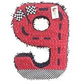 APINATA4U レッドレースカーテーマナンバーナイン ピニャータ 高さ24インチ レーシングテーマ パーティー記念品