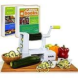 Spiralizer Vegetable Slicer – Zucchini Spaghetti Maker w/Heavy Duty Suction Cup Mount & 30-Spike Ergonomic Crank Handle – Bonus Vegetable Spiralizer Cookbook Ebook – Perfect for Low Carb & Paleo Diet