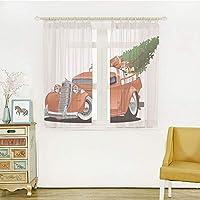 レースカーテン 目隠し 仕切り 洗濯可 レースストライプ-ホワイト 幅100cmx丈135cm 2枚入り クリスマス、ピックアップレトロな車両装飾、ホワイトレッドの大きなクリスマスツリーとギフトボックスとビンテージアメリカトラック