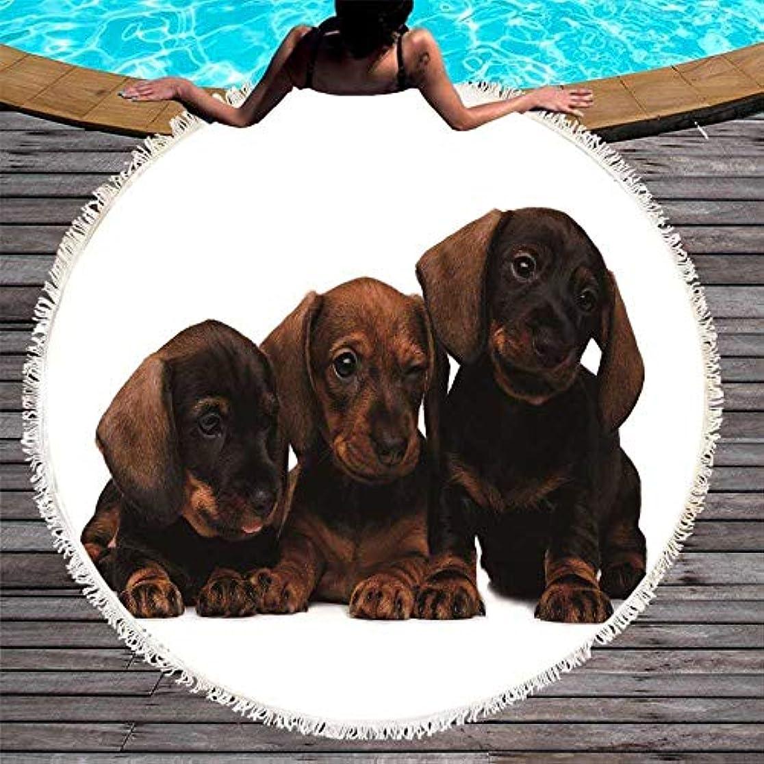 包括的伴う四面体犬ラウンドビーチタオルプリント猫とタッセルブランケットタイガーマイクロファイバーピクニックラージマット150 cm (色 : 2, サイズ : 150CM)
