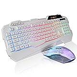 Letton K1 LED有線 ゲーミングキーボードとマウスセット 多色のバックライト US 配列(ホワイト)