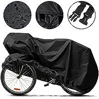 自転車カバー Aufool 高品質素材 風飛び防止 撥水加工 収納袋付き 防水・防雪・防塵・耐熱 ブラック