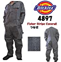 Dickies 4897 フィッシャーストライプ 長袖 COVER ALLS (カバーオール)ストライプ/ ツナギ服/続服/ツヅキ/つなぎ服/ワークウェア/ヘリンボンの綾織のつなぎ (L, フィッシャーストライプ)