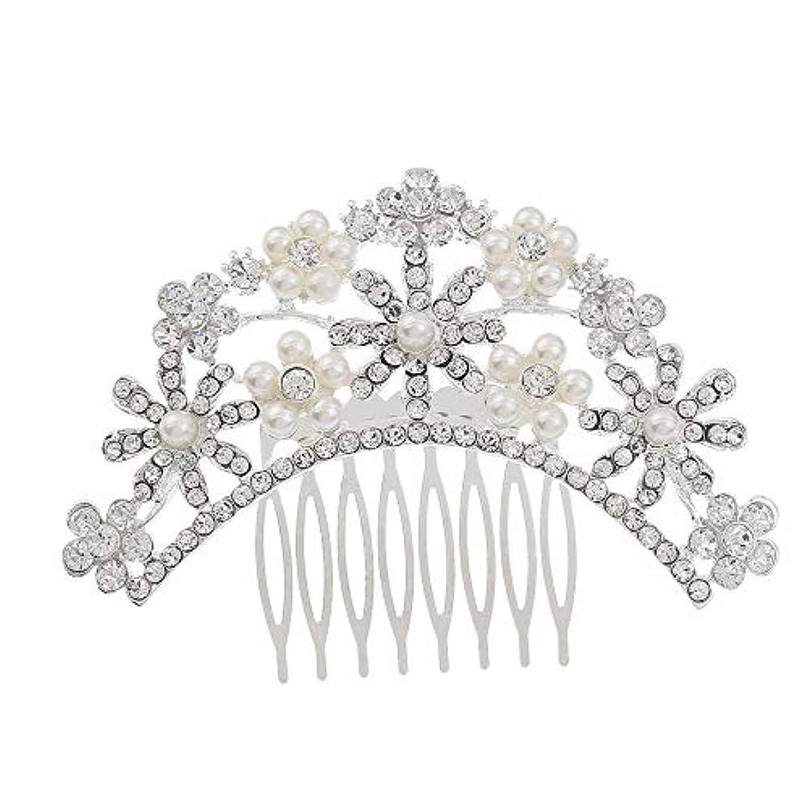 権利を与える内なるセールスマンヘアコームコーム櫛花嫁の髪櫛クラウンヘッドバンド結婚式の帽子真珠の髪の櫛ラインストーンインサート櫛